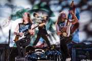 Dave Murray, Janick Gers y Bruce Dickinson, de Iron Maiden, Bilbao BBK Live, 2007
