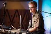 Alex Hall, baterista de Deke Dickerson and the Modern Sounds, Hotel Casa Fuster, Barcelona. 2010