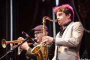 Jason Colby -trompeta- y Patrick Sargent -saxo- de Lee Fields & The Expressions (Azkena Rock Festival, Vitoria-Gasteiz, 2012)