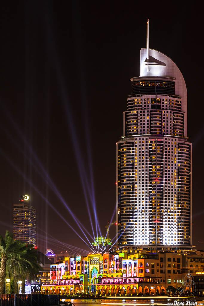 The Address Downtown Dubai Hotel & Souk Al Bahar. Video Mapping. 061 Vacaciones Marzo 2014 Emiratos Arabes Unidos Dubai