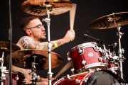 Oier Bernal, baterista de 13 Left to die, Azkena Rock Festival, 2014