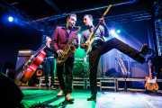 Dani Nel·lo -saxofonista-, Ivan Kovacevic -contrabajista- y Mario Cobo -guitarrista- de Los Mambo Jambo, Purple Weekend Festival. 2014