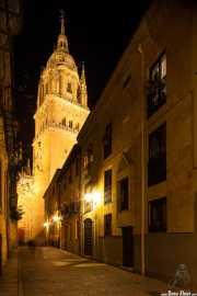 Torre de la Catedral Nueva de la Asunción de la Virgen de Salamaca desde la Calle Calderón de la Barca (11/12/2014)