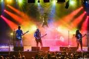 "Txelu ""Porco"" -bajo-, Asier ""Indomable"" -guitarra-, Oskar ""Puro d'Oliva"" -batería-, Manu ""Gallego"" -voz- y Asier ""Pulpo"" -guitarra- de Porco Bravo , Santana 27, Bilbao. 2015"