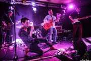 Albert Hustler -bajo-, Ilargi Agirre -batería-, Screamin' George -voz y armónica-, James Hustler -guitarra- y Javi de Hustler -guitarra- de Screamin' George & The Hustlers, Santana 27, Bilbao. 2015
