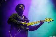 "Donald ""Huff"" Wright, bajista de Selwyn Birchwood Band, BluesCazorla - Plaza de toros, Cazorla. 2015"