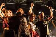Lore Billelabeitia -bajo, teclado y voz-, Josu Billelabeitia -guitarra, teclado y voz-, Cristina Lizarraga -voz y teclado- y Lander Zalakain -batería- de Belako, Mundaka Festival, Mundaka. 2015