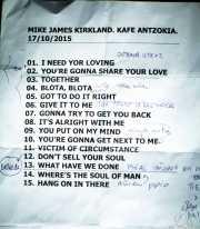 Setlist de Mike James Kirkland, Kafe Antzokia, Bilbao. 2015