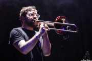 Daniel Walter Eaton, teclista, trombonista y samplers de Zola Jesus, BIME festival, Barakaldo. 2015