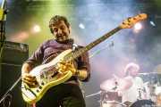 """Roberto Fernández -bajo- y Pablo González """"Pibli"""" -batería- de La Ruta (Purple Weekend Festival, León)"""
