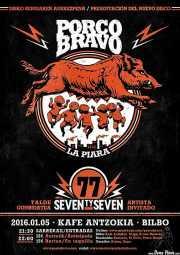 Cartel de Porco Bravo, diseño de Mikel Urrutia (Smoke Signals Studio) (Kafe Antzokia, Bilbao, )