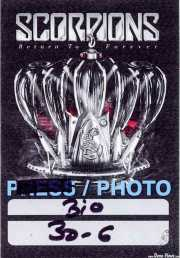 PhotoPass de Scorpions (Bilbao Arena, Bilbao, )