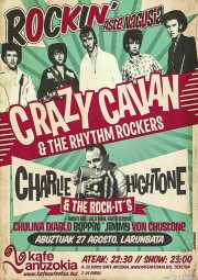 Cartel de Crazy Cavan & The Rhythm Rockers (Diseño: Ramoneart) (Kafe Antzokia, Bilbao, )