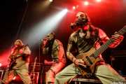 Dementh -guitarra-, Neuros -voz- y Psycho -bajo- de Insaniam (Bilborock, Bilbao, 2016)
