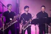 Raúl Marques -trompetista- y saxofonistad de Alex Cooper (Purple Weekend Festival, León, 2016)