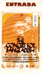 Entrada para el Homenaje a The Concert for Bangladesh. George Harrison (Santana 27, Bilbao, )