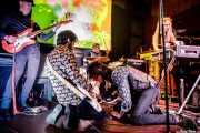"""Gusti """"Smogger"""" Jiménez -bajo-, -guitarra-, Goyo """"Smogger"""" Campos -batería-, Fernando """"Smogger"""" Jiménez -voz y armónica- y Ana """"Smogger"""" González -órgano y voz- de The Smoggers (Hika Ateneo, Bilbao, 2017)"""