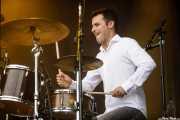Oriol Flores, baterista DE Izaro (Bilbao BBK Live, Bilbao, 2017)