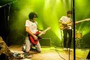 Pablo Moreno -guitarra y voz-, Sergio Gil -bajo- y Roberto Villar -batería- de Yellow Big Machine (Kafe Antzokia, Bilbao, 2018)