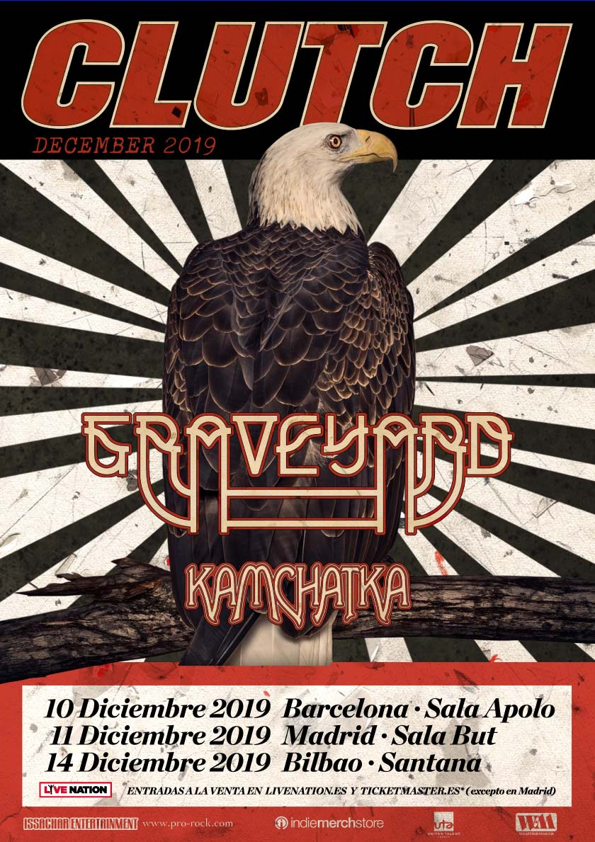 Cartel de Clutch, Graveyard y Kamchatka, Santana 27, Bilbao, 15/XII/2019