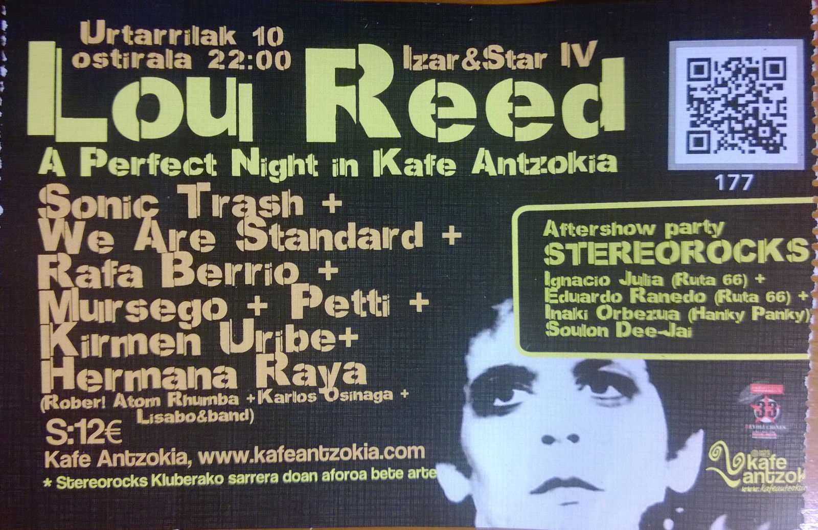 Entrada. Lou Reed. A perfect night in Kafe Antzokia 10I14