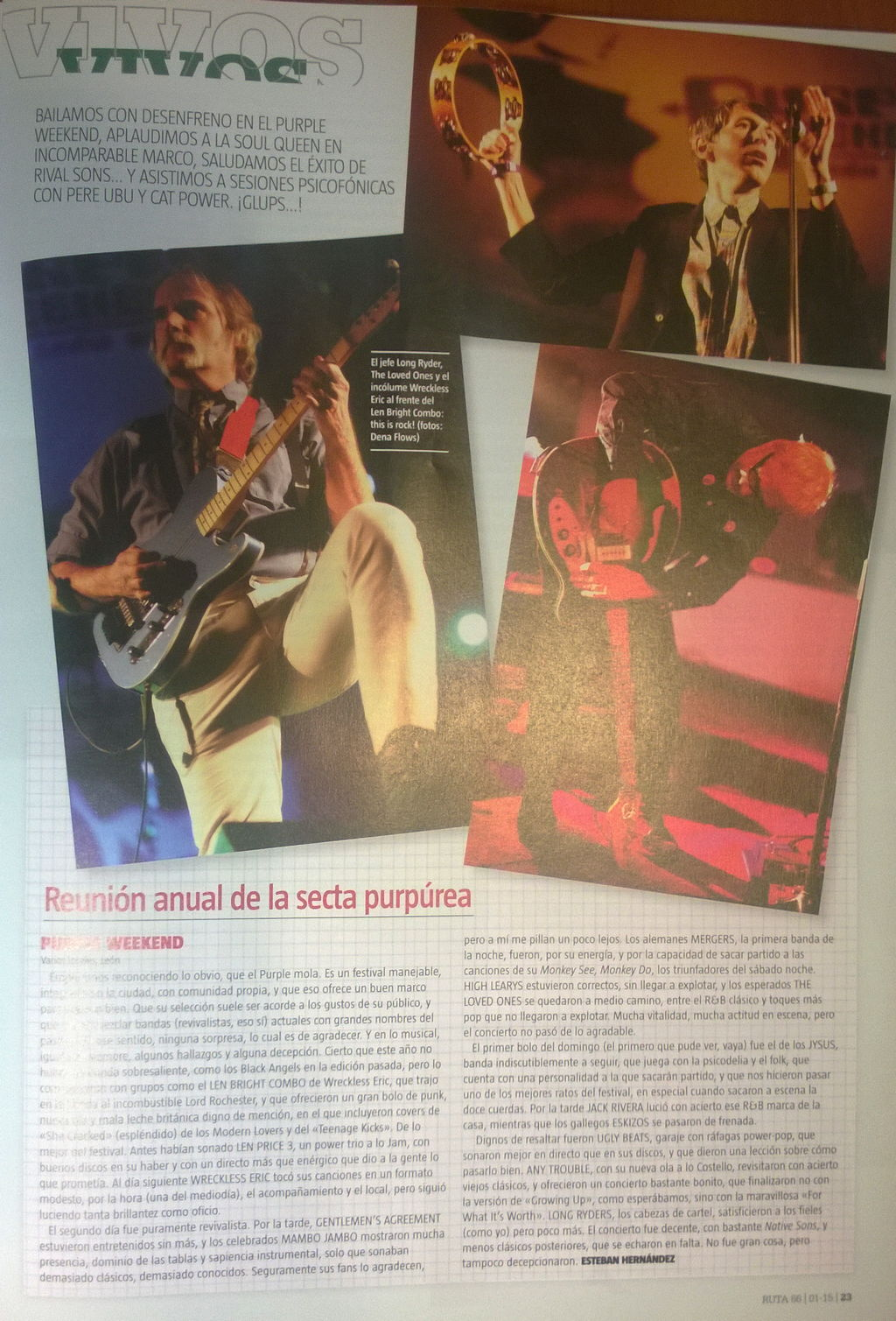 Captura de la crónica y fotos del festival Purple Weekend 2014 en Ruta 66 (enero de 2015)