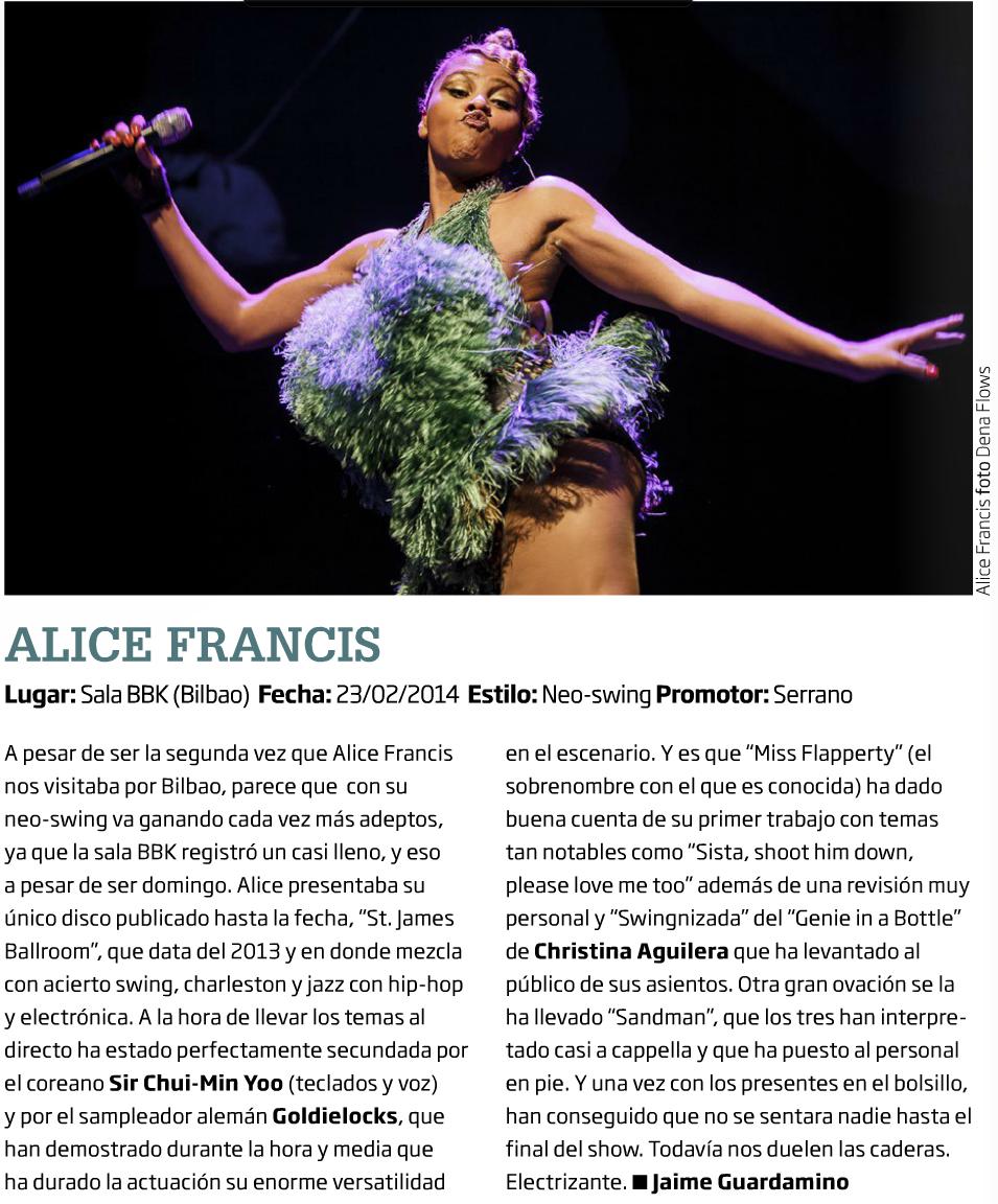 Captura de la crónica y foto de Alice Francis en Zarata-Mondo Sonoro