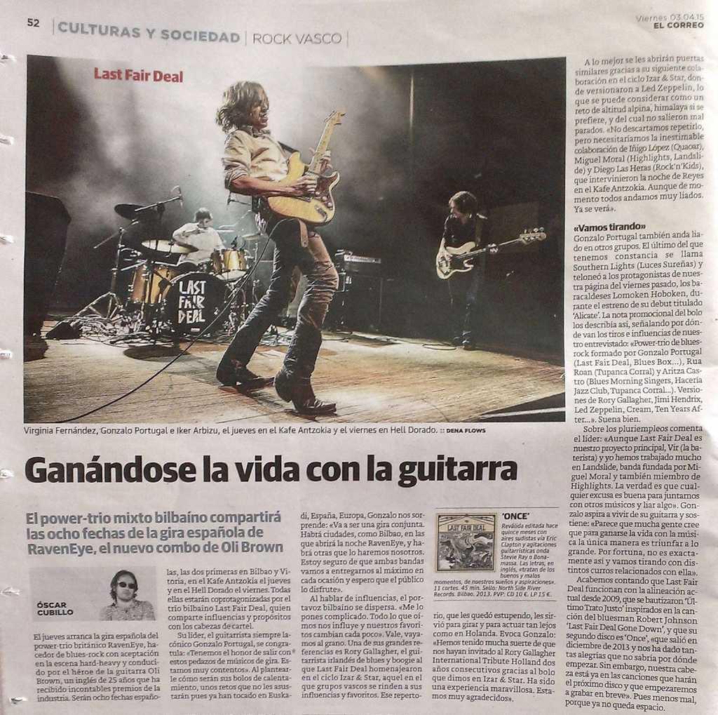 Captura de la entrevista a Last Fair Deal aparecida en El Correo (3 de abril de 2015)