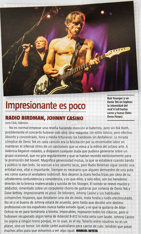 Crónica del concierto de Radio Birdman y Johnny Casino en el Loco Club de Valencia, por Manuel Beteta