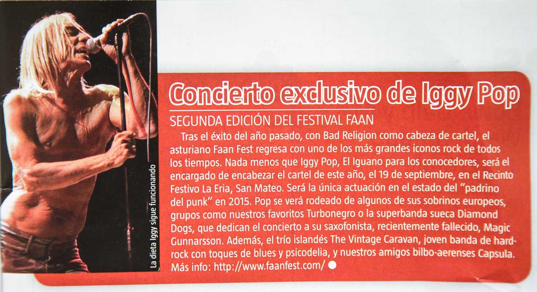 Noticia anunciando el Faan Fest 2015 con foto de Iggy Pop en Ruta 66