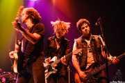 Danny Methric -guitarrista-, Wendy Case -guitarrista y cantante- y bajista de The Paybacks, Bilbao. 2007