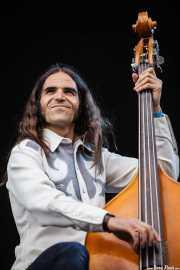 Javi Vacas, bajista y contrabajista de Corizonas, Bilbao BBK Live, Bilbao. 2012