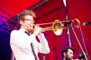 Guilhem Parguel, trombonista de The Buttshakers, Andoaingo Rock Jaialdia. 2013