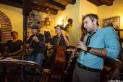 Doc Scanlon, Peter Davis, Adrian Cunningham y Stéphane Séva, de Doc Scanlon's Hot 4, Gastroswing - Iturrieta Sagardotegia, 2014