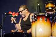 Lenny Castro, percusionista de Joe Bonamassa band, Azkena Rock Festival, 2014