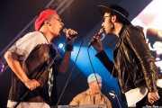 Rouge Mary y Stef Gustaph-cantantes-, y Andy Butler -DJ- de Hercules & Love Affair, Bilbao BBK Live, 2014