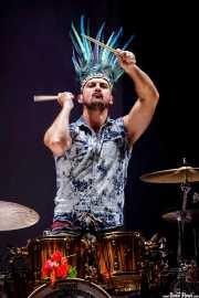 Andrea Marongiu, baterista de Crystal Fighters, Bilbao BBK Live, 2014