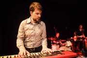 Iñigo Ortiz de Zárate -guitarrista y organista-,Zigor Akixo -baterista-,y Danilo Foronda -bajista- de The Allnighters, Sala Cúpula (Teatro Campos Elíseos). 2014