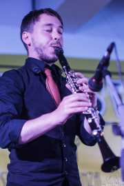 Juli Aymi, clarinetista y saxofonista de Doc Scanlon's Swingsters, Gastroswing - Artium, Vitoria-Gasteiz. 2015