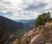 Valle del río Pleistos desde el monte Parnaso, con el Golfo de Corinto al fondo (22/09/2015)