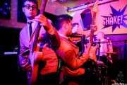 Matt Best -guitarra y voz-, Sir Ritchie Hummins -voz y guitarra-, Fliggers B. Lewis -bajo y voz- y Johnny G. Wiz -batería y voz- de The Dreamboats (Shake!, Bilbao, 2017)