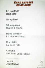 Setlist de The Northagirres (Kafe Antzokia, Bilbao, 2018)