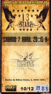 Entrada de Thirteen Stars (Shake!, Bilbao, )
