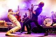 Paulo Furtado -voz y guitarra-, Filipe Rocha -bajo-, João Cabrita -saxo- y Paulo Segadães -batería- de The Legendary Tigerman (Andoaingo Rock Jaialdia, Andoain, 2018)