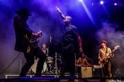 Nalle Colt -guitarra-, Ty Taylor -cantante-, Rick Barrio Dill -bajo- y Richard Danielson -batería- y Brian London -teclista, trombonista- de Vintage Trouble (Mundaka Festival, Mundaka, 2018)