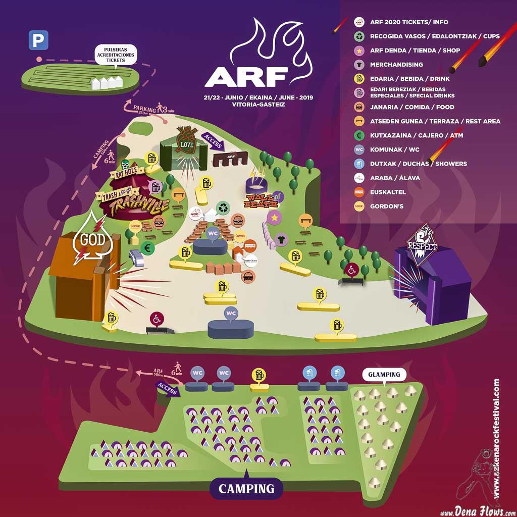 Plano del recinto del Azkena Rock Festival 2019 (Azkena Rock Festival, Vitoria-Gasteiz, )