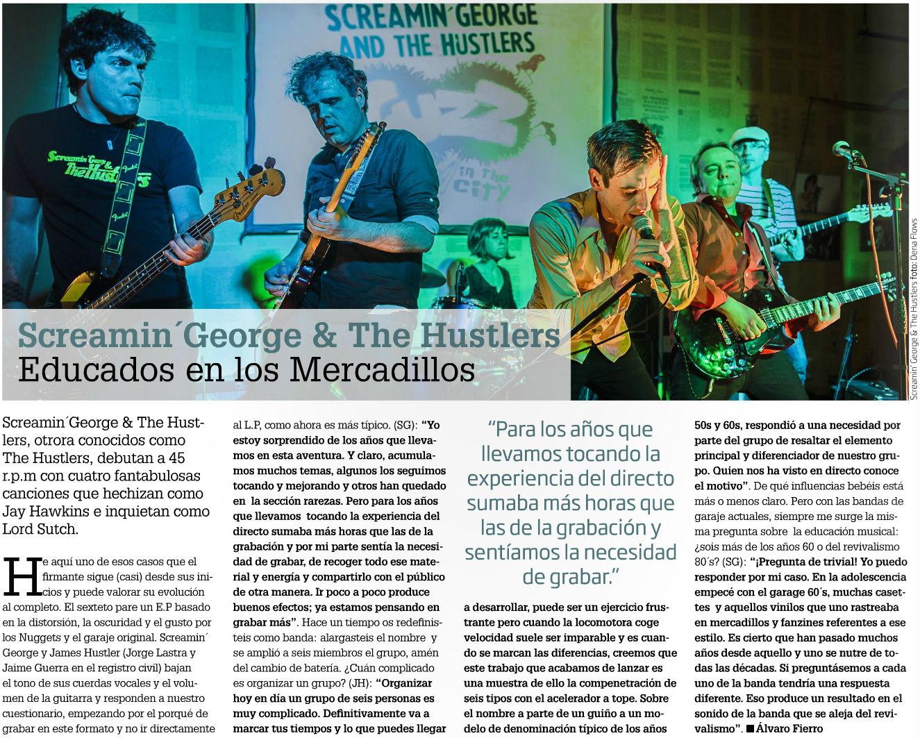 Captura de la entrevista y foto de Screamin' George & The Hustlers en Zarata-Mondo Sonoro (abril de 2015)