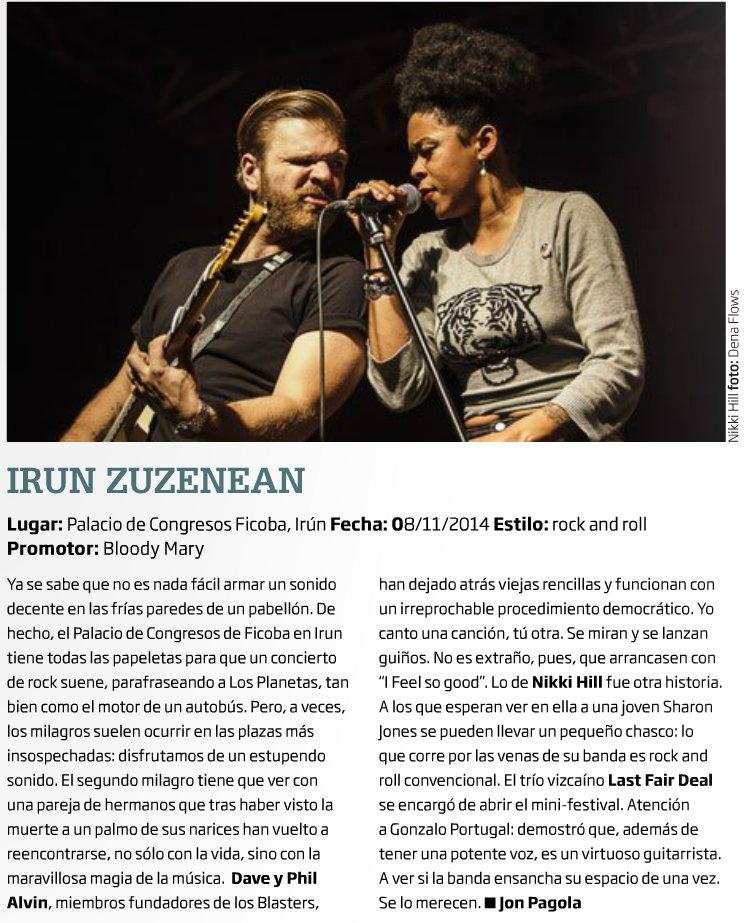 Captura de la crónica y foto del Irún Zuzenean 2014 en Zarata-Mondo Sonoro (diciembre de 2014)