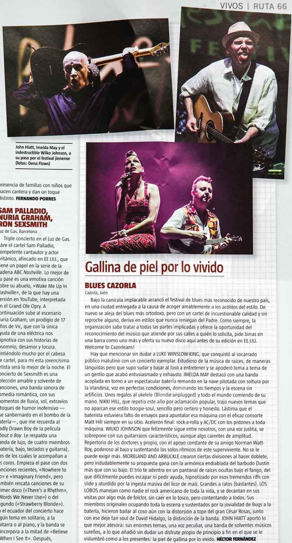 Crónica del Blues Cazorla 2015 por Héctor Fernández, con fotos de John Hiatt, Imelda May y Wilko Johnson
