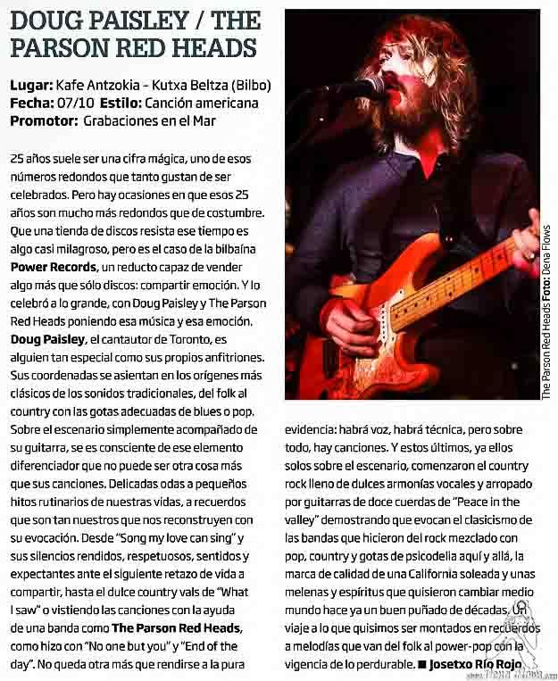 The Parson Red Heads en Zarata (Mondo Sonoro) 233, noveimbre de 2015